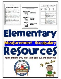 Are you looking for vocabulary measurement unit? Look no further! -VOCABULARY WORDS ON QUIZ: Approximate, Capacity, Depth, Distance, Equivalent, Height, Length, Mass, Volume, Weight, and Width.------------------------------------------------------------------------------------------------INCLUDES: -Vocabulary Definitions (2 Versions: Simplified and Advanced)-Vocabulary Study Sheet-Vocabulary Flashcards-Vocabulary Quiz-Answer…