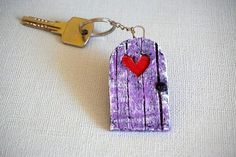 Purple Keychain Miniature Door Keychain Paper Key Fob Tiny