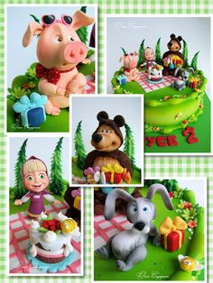 Одноклассники Fondant Dog, Fondant Cakes, Beautiful Cake Designs, Beautiful Cakes, Masha Et Mishka, Restaurant Plan, 2nd Birthday Party Themes, Masha And The Bear, Bear Birthday