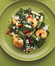 Stir-Fried Shrimp, Rice, and Collard Greens.