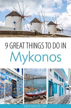 Best things to do in Mykonos Greece. Explore Chora the old town the Kato Mili Windmills Paradise Beach and Little Venice. Mykonos Town, Santorini Greece, Delos Greece, Santorini Hotels, Greece Vacation, Greece Travel, Greece Trip, Europe Destinations, Europe Travel Tips