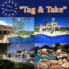 """**NEW COMPETITION** """"Tag & TAKE"""" **NEW COMPETION** WIN 10 days for 10 people in a luxurious villa... Tag a friend and take them with you.... To enter simply """"Tag"""" a friend in the post and choose a villa. Either A. B. C. or D. ( You can also enter on Pinterest by liking the picture and re-pinning. Enter on Google+ by +1 the picture and sharing.) Entries in each media will be valid. ( 3 possible chances ) Closing date is January 1st 2014. www.toptraveleurope.net"""