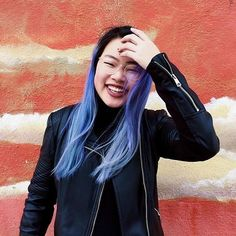 We absolutely #love seeing how a dose of #ManicPanic can make our #DyeHards so happy like the adorable @kaitlinyin! She used diluted #AfterMidnight and #UltraViolet over hair previously dyed with #BlueSteel. Remember to share your photos and tag us so we can follow your hair adventures! Blue Purple Hair, Coloured Hair, Colorful Hair, Natural Curls, Hair Dye, Hair Colour, Androgynous, Color Theory, Ultra Violet