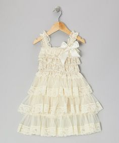 Take a look at this Beige Lace Ruffle Dress - Infant & Toddler by Whitney Elizabeth on #zulily today!