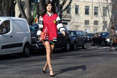 Valentina Siragusa perfected the street style strut and the cool-girl uniform in her varsity jacket and heels.