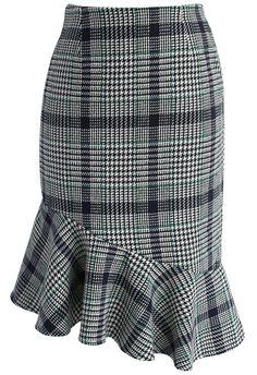Asymmetry Tweed Frill Hem Pencil Skirt in Green - New Arrivals - Retro, Indie and Unique Fashion