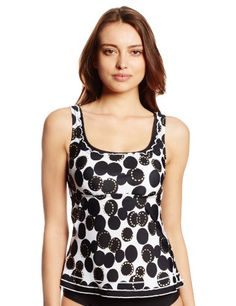 Ocean Avenue Women\'s Dazed Dot Ruffle Scoop Tankini, Black, Large
