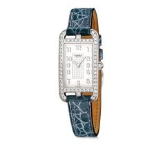 Cape Cod Nantucket Hermes Silver★ watch set with diamonds, 20 x 27mm, opaline silvered dial, quartz movement, interchangeable smooth storm blue alligator leather strap