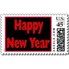 Red Happy New Year postage stamps
