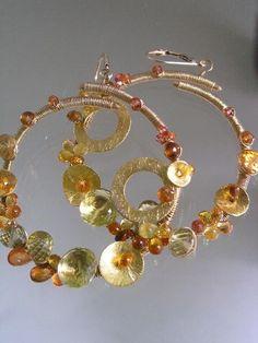 Bellajewels Original Handcrafted Sapphire Spessartite Garnet Hoop Earrings #BellajewelsbyTraceyPettingill