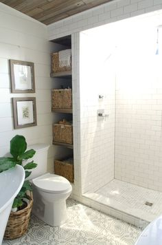 Beautiful Urban Farmhouse Master Bathroom Remodel is part of Tiny house bathroom - Beautiful bathroom remodel and complete transformation to this dream bath! Urban farmhouse master bathroom makeover with Delt Bad Inspiration, Bathroom Inspiration, Bathroom Inspo, Ideas Baños, Decor Ideas, Decorating Ideas, Tile Ideas, Cake Decorating, Cottage Decorating