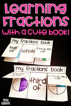 Fractions book that makes sorting and practicing fraction shapes so much fun! The book has a few different versions including one with quarters if you use that vocabulary instead. These turn out so cool! Fraction Activities, Small Group Activities, Cut And Paste Worksheets, Printable Worksheets, Book Of Life, The Book, Learning Fractions, First Grade Math, Differentiation