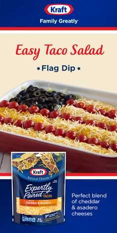 Whip up this festive appetizer, perfect for serving a crowd. Taco Salad Flag Dip has major Fourth of July flair with black olive stars and tomato and cheese stripes. Below that are layers of seasoned ground beef, seasoned sour cream and crisp lettuce. Appetizer Dips, Appetizer Recipes, Holiday Appetizers, Party Appetizers, July 4th Appetizers, Potluck Recipes, Fun Recipes, Yummy Appetizers, Summer Recipes