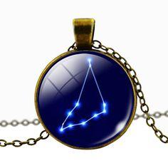 Capricorn Blue Cabochon Glass Constellation Necklace