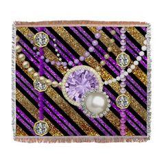 #FauxGlitter&Jewels #Purple&GoldTones #WovenBlanket by #MoonDreamsMusic
