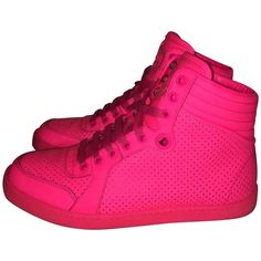 Pre-owned High top sneakers ($350) ❤ liked on Polyvore featuring shoes, sneakers, pink, hi tops, neon high tops, neon high top sneakers, gucci shoes and neon pink shoes