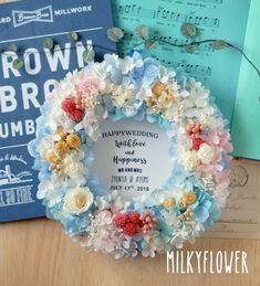 SUMMER Wedding * 水色×ピンクのさわやかリース * 結婚祝いの贈り物 の画像|ウェディング&フラワーリースのMilkyFlower*