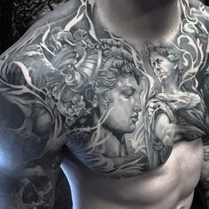 Chest and Half Sleeve Tattoo - Best Chest Tattoos For Men: Cool Chest Tattoo Ide. Full Chest Tattoos, Chest Tattoos For Women, Chest Piece Tattoos, Tattoos For Guys, Skull Tattoos, Body Art Tattoos, Chicano Tattoos, Men Tattoos, Tattoo Sleeve Designs