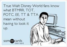 True Walt Disney World fans know what BTMRR, TOT, POTC, EE, TT & TTA mean without having to look it up. | Friendship Ecard | someecards.com