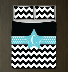 Do you love to perform?  This chevron and polka dot duvet set with a star is perfect for those who like to shine.  It will look perfect in any thespian's bedroom or dorm room.  You can customize it with the colors of your choice or choose the black, white and aqua colors shown.  This unique, custom bedding set would make the perfect Christmas present or birthday gift for any girl who loves music theatre or theatre.