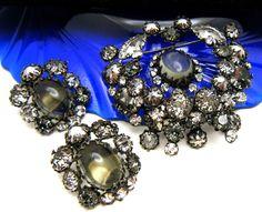 Fabulous Vintage Schreiner New York Demi Parure Brooch Earrings Smoke Grey #SchreinerNewYork