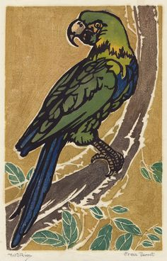 "William Seltzer Rice: ""Green Parrot"", circa 1925; color woodcut. I never saw this one before!"