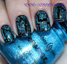 China Glaze: Crackle Glaze in Gleam Me Up (over black)