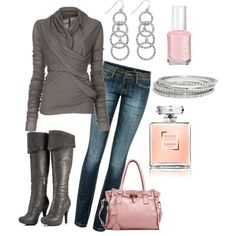 """""""Gray with a touch of pink"""" by krystatarman on Polyvore"""