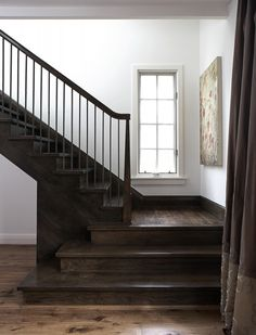 Wider bottom stairs by culligan abraham architecture foyers & staircase Wood Staircase, Wooden Stairs, Stair Railing, Staircase Design, Railings, Banisters, Stained Staircase, Staircase Landing, Hardwood Stairs