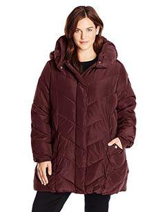 9f0223d011 Steve Madden Women s Plus-Size Chevron Packable Puffer Jacket with Hood Plus