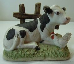Homco-Calf-and-Chicken-Cow-Rooster-Porcelain-Figure-1469-Fence
