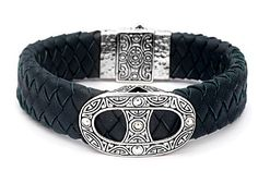 Silver bracelet with blue leather strap 20mm