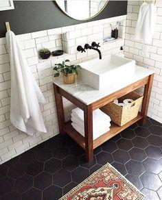 Beautiful Bathroom Vanity Design Ideas black and white bathroom marble vanity - Marble Bathroom Dreams Basement Bathroom, Bathroom Flooring, Bathroom Marble, Bathroom Sinks, Bathroom Renovations, Bathroom Cabinets, Basement Flooring, Bathroom Wall, Bathroom Layout