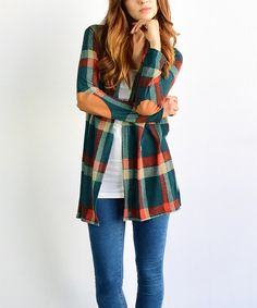 Look at this éloges Green Plaid Open Cardigan on #zulily today!