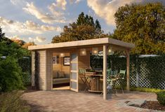 Tuinhuis Schwandorf 3 uit de Woodfeeling collectie van het Duitse A-merk Karibu wordt standaard geleverd met dakaanbouw van 240 cm die aan beide kanten van de berging geplaatst kan worden. Tuinhuis Schwandorf 3 met overkapping van Karibu van duurzaam Scandinavisch vuren hout wordt standaard onbehandeld geleverd. Pergola, Gazebo, Timber Roof, Single Doors, Planter Boxes, Living Spaces, Relax, Backyard, Patio