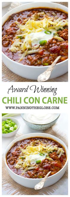 Eddie's Award Winning Chili Recipe - Panning The Globe - - A fantastic award winning chili con carne, with beef, pork, three kinds of chilis, a perfect balance of spice and heat. Best Chili Recipe, Chilli Recipes, Bean Recipes, Mexican Food Recipes, Soup Recipes, Mexican Chili Beans Recipe, Chili Recipe With Beer, Chile Recipes Beef, Chili Recipe With Peppers