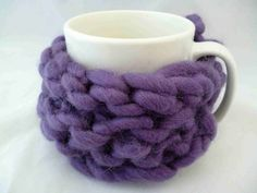 Cup cosy purple knitted mug cosy chunky knit cup by HootersHall, Nifty, Cosy, Knit Crochet, Challenge, Mugs, Trending Outfits, Knitting, Unique Jewelry, Purple