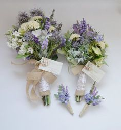 Wildflower Bouquet Package - Bridal Bouquet, Bridesmaid Bouquet, Boutonnieres, Wildflower, Purple, Rustic Wedding Bouquets