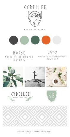 Modern logo design created for essential oils business. Brand mood board with color scheme, typography, image inspiration, secondary logo concepts, and pattern design. Logo is simple, clean, gray with leaf and shape.