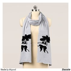 Shop Uncle Scarf created by Migned. Personalize it with photos & text or purchase as is! Scarf Drawing, Grey And White, Black, Sketch Design, Neck Warmer, Store Design, One Size Fits All, Favorite Color, Heather Grey