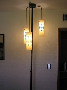 vintage tension pole lamp 3 light hanging midcentury eames - Pole Lamps