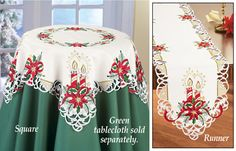 Embroidered Poinsettia Candles Table Linens