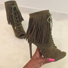 """When your shoe dreams come to life  olive x fringe booties from @lillyskloset"""
