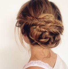 Fishtail braid into bun