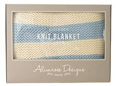 * Alimrose Chunky Cotton Knit Cot Blanket - Natural & Blue  - 100% softest chunky knit cotton blanket - 100cm x 120cm