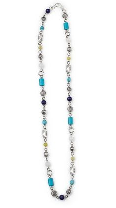 "Madison - 39"" An eclectic mix of diverse silver beads with bursts of purple, turquoise, red and green create an attractive mix of refreshing beauty.  Mialisia  - http://carolyn.mialisia.com/"