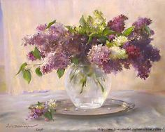 Javad Soleimanpour Javad Solimanpour was born in Tebriz ( Iran ) . Lilac Painting, Garden Painting, Art Floral, Flower Vases, Flower Art, Watercolor Flowers, Watercolor Paintings, Botanical Drawings, Russian Art
