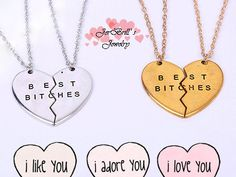 Best Bitches BFF Best Friends Heart Couple Pendant Broken Heart Necklace by JerBrill. by JerBrill on Etsy