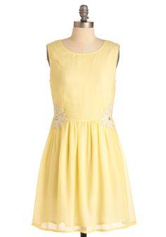 I Wish I Mei Dress - Mid-length, Wedding, Vintage Inspired, Yellow, Solid, Sleeveless, Beads, Pearls, Sheath / Shift