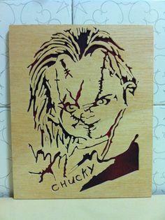 Chucky El muñeco diabolico Cuadro de madera por Planetasierra, €18.99